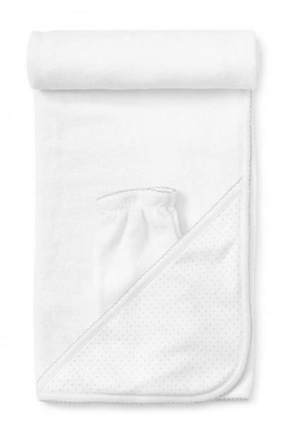 Kapuze-Handtuch Punkte weiß-grau