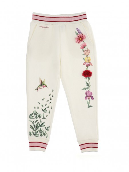 Sweat-Hose creme Blumen