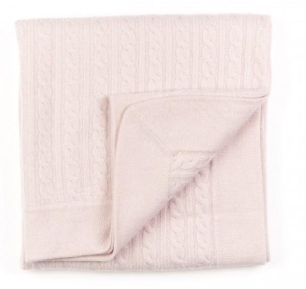Cashmeredecke Zopfmuster rosa