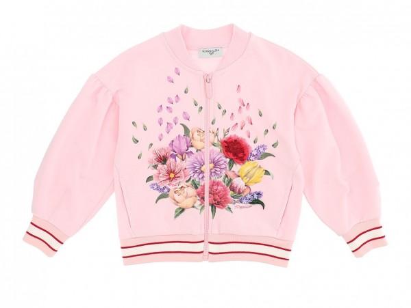 Sweat-Jacke rosa Blumen