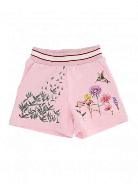 Sweat-Shorts rosa Blumen